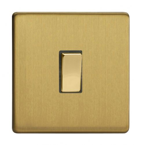 Varilight XDB20DS Screwless Brushed Brass 1 Gang 20A Double Pole Switch